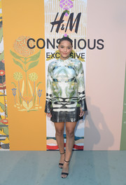 Kiersey Clemons sported an abstract-print mini dress at the 2018 H&M Conscious Exclusive collection celebration.