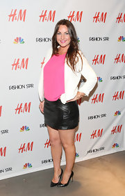 Sarah Parrot donned a black zippered mini at the H&M 'Fashion Star' celebration.