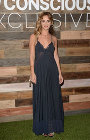 Alexia Niedzielski went for a sultry look with this lingerie-inspired midnight-blue evening dress during the H&M Conscious Collection dinner.