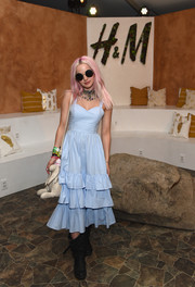 Dove Cameron was pretty as a picture in this tiered pastel-blue sundress at the H&M Loves Coachella event.