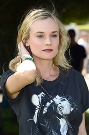 Diane Kruger added just a touch of color to her daytime beauty look with a very subtle red lip.