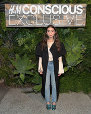 Rowan Blanchard styled her look with a fabulous pair of metallic-blue loafer heels by Gucci.