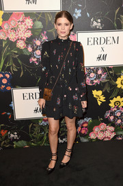 Kate Mara complemented her dress with a pair of embellished kitten heels, also by Erdem x H&M.