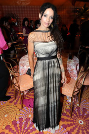 Lisa Bonet wore a long ivory gown featuring a lacy black overlay while attending an Emmy Awards reception.