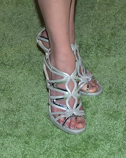 Anne Heche showed off a cool pair of silver strappy sandals while hitting the HBO Emmy post show.