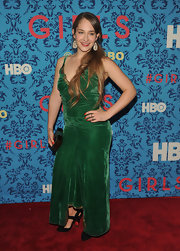 Jemima Kike jumped in on the velvet trend with this green number at the premiere of 'Girls' in NYC.