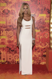 From the blue cutout dress at the Emmy Awards to this sleek, slashed number at the HBO after-party (both by Calvin Klein), Laverne Cox oozed sex appeal the entire night!
