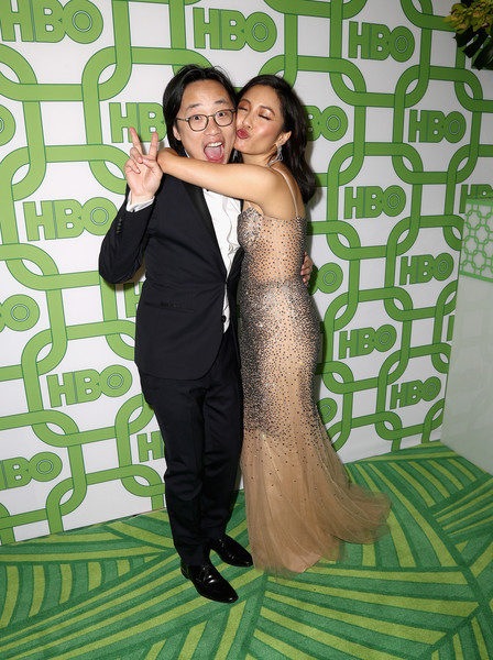 More Pics of Constance Wu Long Wavy Cut (4 of 7) - Constance Wu Lookbook - StyleBistro [green,formal wear,dress,event,photography,fun,prom,happy,suit,long hair,jimmy o. yang,constance wu,official golden globe awards,california,los angeles,circa 55 restaurant,hbo,arrivals]