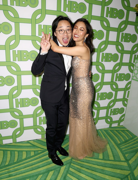 More Pics of Constance Wu Long Wavy Cut (3 of 7) - Constance Wu Lookbook - StyleBistro [green,formal wear,dress,shoulder,prom,fun,event,photography,gown,long hair,jimmy o. yang,constance wu,official golden globe awards,california,los angeles,circa 55 restaurant,hbo,arrivals]