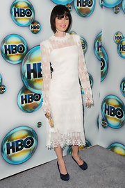 Lena Headey looked oh-so-demure in her long-sleeve white lace dress at the 2012 Golden Globes.