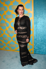 Debi Mazar showed us how to look sultry without baring much skin with this black lace-striped gown she wore to the HBO Golden Globes party.