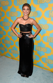 Sarah Hyland was sexy-trendy in a strapless black leather crop-top by Emilio Pucci at the HBO Golden Globes party.