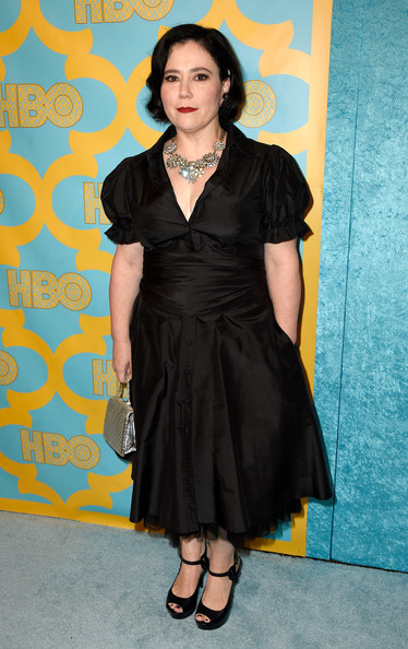 Alex Borstein was demure at the HBO Golden Globes party in a little black dress with puffed sleeves and a tulle petticoat peeking under the skirt.