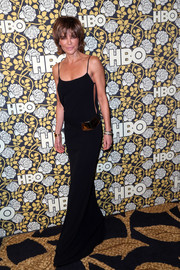 Lisa Rinna sizzled in a black slip dress with open sides at the HBO Golden Globes post-party.