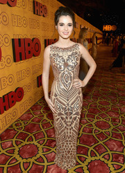 Vanessa Marano donned a nude Kenneth Barlis gown with silver sequins for the HBO post-Emmy reception.