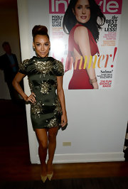 Naya Rivera's sparkly gold evening pumps and beaded dress were a flawless pairing.