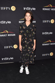 Tatiana Maslany kept it relaxed in a printed maxi shirtdress at the HFPA and InStyle TIFF celebration.