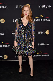 Jessica Chastain kept it ladylike in an embroidered cocktail dress by Elie Saab at the HFPA and InStyle TIFF celebration.