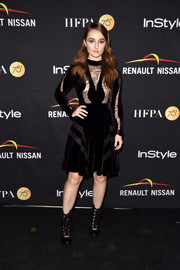 Kaitlyn Dever hit the HFPA and InStyle TIFF celebration wearing a lace and velvet LBD by Elie Saab.