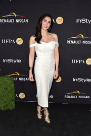 Sarah Silverman polished off her look with gold gladiator heels by Sarah Flint.