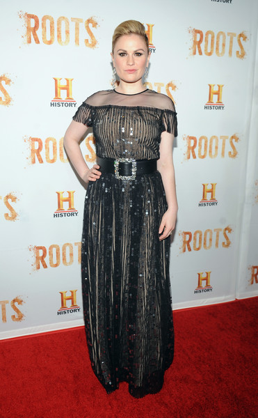 Anna Paquin chose a gorgeous sequined, sheer-overlay gown by Escada for the 'Night One' premiere of 'Roots.'