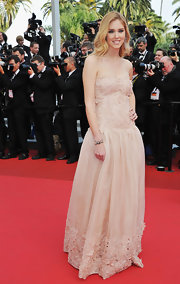 Chiara donned a pale pink strapless evening dress with lace applique and a drop-waist silhouette for the Cannes Film Festival.