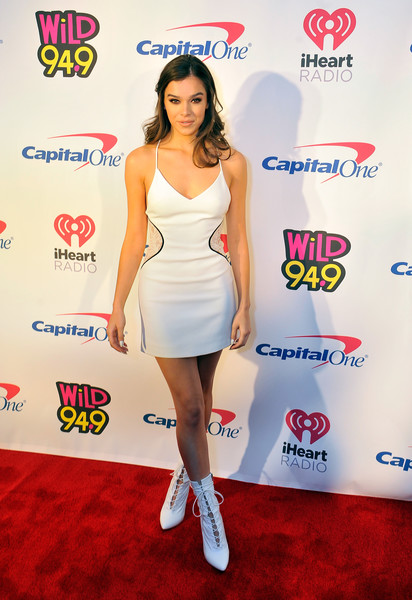 Hailee Steinfeld Lace Up Boots [clothing,cocktail dress,shoulder,dress,carpet,joint,red carpet,leg,flooring,knee,hailee steinfeld,room,san jose,california,sap center,wild 94.9,fm,capital one,jingle ball 2017]