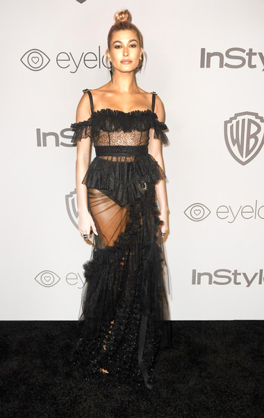 Hailey Bieber Sheer Dress