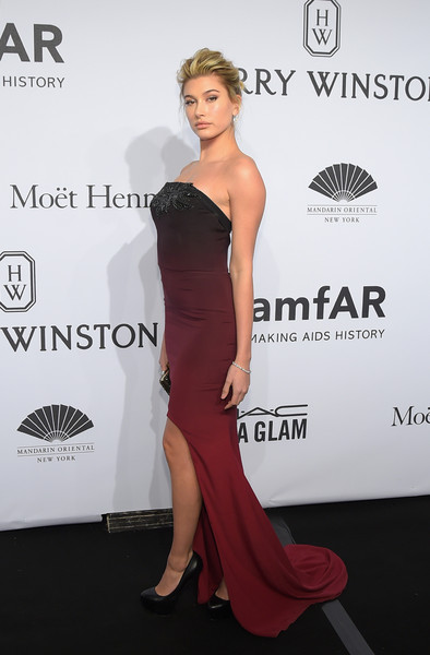 Hailey Bieber Strapless Dress