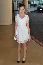 Bailee Madison attended the Hallmark Channel event wearing a white lace dress.