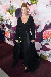 Jodie Sweetin made a dramatic entrance in this black jumpsuit/ball gown hybrid at the Hallmark Channel Winter TCA Press Tour.