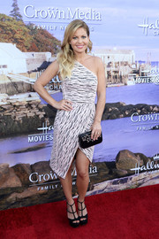 Candace Cameron Bure cut a trendy figure in a monochrome one-shoulder dress with an asymmetrical hem at the Hallmark Channel Summer TCA Press Tour.