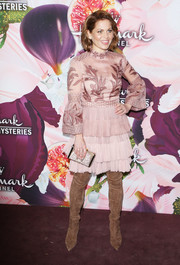 Candace Cameron Bure kept it feminine in a mauve J. Mendel cocktail dress with an embroidered bodice and a tiered skirt at the Hallmark Channel Winter TCA Press Tour.