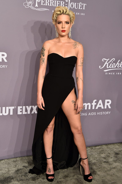 Halsey Platform Sandals [clothing,dress,shoulder,fashion model,cocktail dress,fashion,strapless dress,little black dress,leg,joint,arrivals,singer halsey,new york,cipriani wall street,amfar gala]