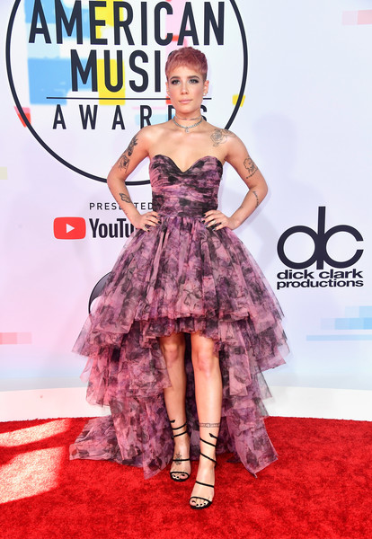 Halsey Strappy Sandals [flooring,fashion model,carpet,red carpet,fashion,catwalk,cocktail dress,gown,fashion design,haute couture,arrivals,halsey,american music awards,microsoft theater,los angeles,california]