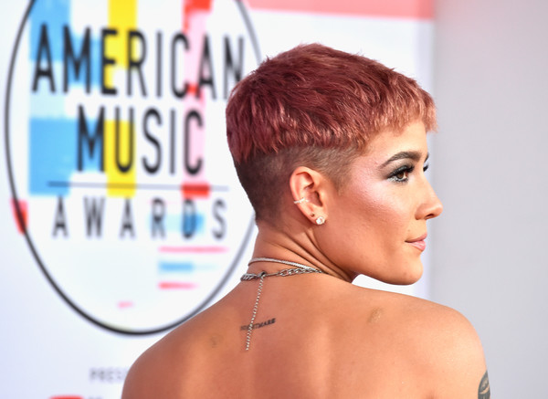 Halsey Pixie [tattoo,hair,face,hairstyle,skin,chin,forehead,blond,nose,beauty,barechested,arrivals,necklace,halsey,american music awards,hair,details,los angeles,california,microsoft theater]