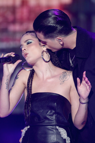 Halsey Lettering Tattoo [lady,beauty,purple,fashion,hairstyle,shoulder,photography,dress,black hair,hand,california,los angeles,dick clarks new years rockin eve with ryan seacrest,g-eazy,halsey]