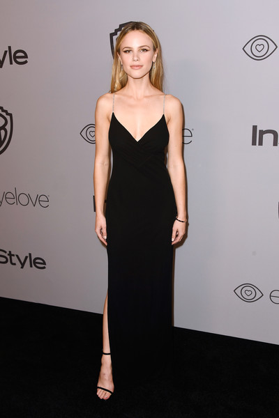 Halston Sage Form-Fitting Dress [dress,clothing,shoulder,fashion model,cocktail dress,little black dress,hairstyle,fashion,carpet,neck,arrivals,halston sage,beverly hills,california,the beverly hilton hotel,warner bros. pictures,instyle host,post-golden globes party]