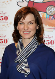 Fiona Bruces showed off her preppiness as she attended the Hamleys 250th Birthday Party in a striped scarf.
