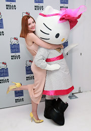 Jaime King gave some love to Hello Kitty while wearing a cheery pair of yellow pumps.