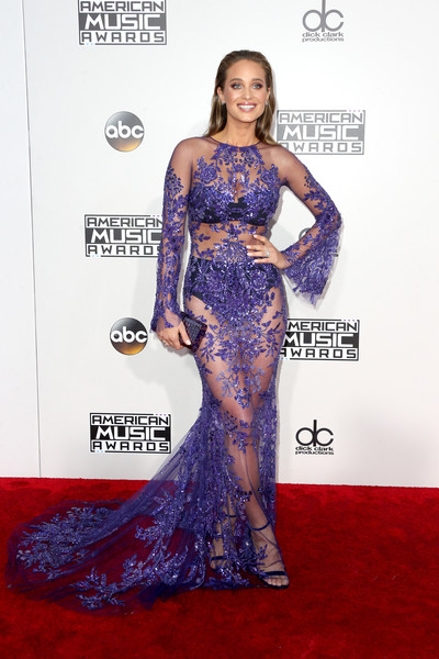 Hannah Jeter Sheer Dress [gown,flooring,dress,shoulder,carpet,joint,red carpet,fashion,cocktail dress,fashion model,arrivals,hannah davis,american music awards,microsoft theater,los angeles,california]