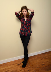 Anna Kendrick wore a basic plaid button-down by Rails for her 'Happy Christmas' portrait session.