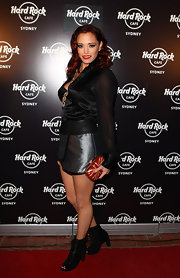 Jessica Sutta wore a pair of suede peep-toe boots at the opening of Hard Rock Cafe's Sydney branch.