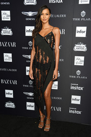 Lais Ribeiro turned up the heat in a sheer black slip dress by David Koma at the 2018 Harper's Bazaar Icons event.