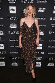 Jaime King looked summery in a draped floral dress by Jason Wu at the Harper's Bazaar Icons event.