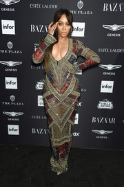 La La Anthony glitzed up her curves in an intricately beaded gown by Naeem Khan for the 2018 Harper's Bazaar Icons event.