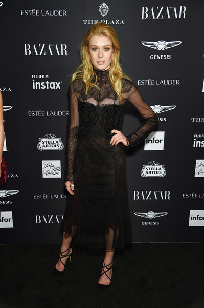 Katherine McNamara was sexy-goth in a sheer black lace dress by Tom Ford at the 2018 Harper's Bazaar Icons event.