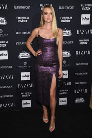 Lindsay Ellingson shone in a metallic purple slip dress by Markarian at the Harper's Bazaar Icons event.
