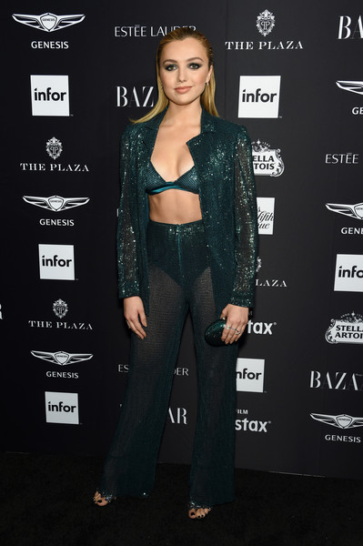 Peyton List smoldered in a sheer green suit and bra ensemble by Fabiana Milazzo at the 2018 Harper's Bazaar Icons event.