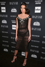 Kendall Jenner complemented her LBD with a pair of ankle-wrap sandals by Jimmy Choo.
